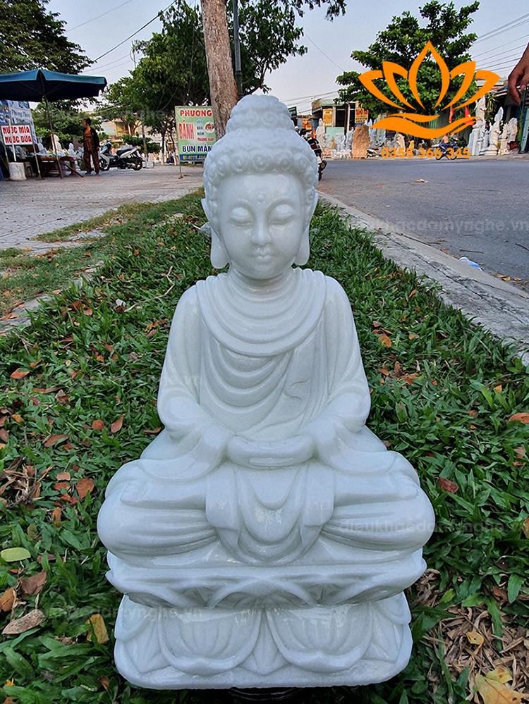 Tượng Phật Thích Ca đá Canxit trắng tự nhiên